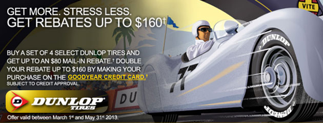 Dunlop - $160 Mail-in Rebate