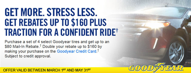Goodyear - Up To $160 Mail-in Rebate