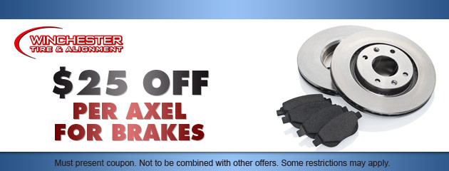 $25 OFF per axel for brakes