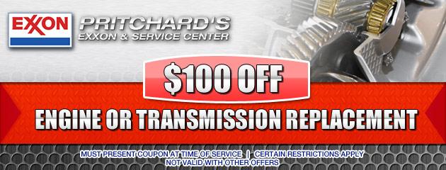 $100 OFF Transmission or Engine Repair