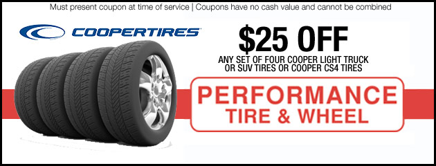 $25 off Cooper Tires