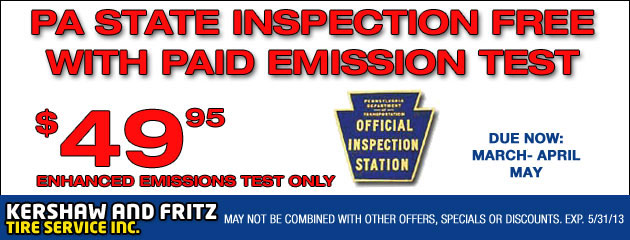 Free PA State Inspection with Enhanced Emission Test 