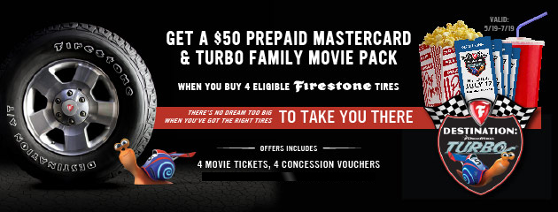 Firestone Turbo Deal Plus $50 Prepaid Mastercard Rebate Card 