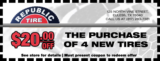 $20 off the Purchase of 4 New Tires