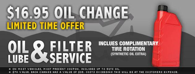 $16.95 Oil Change