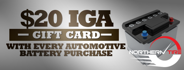 $20 IGA gift card wity any battery