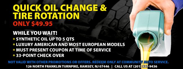 $49.95 Quick Full Syn Oil Change and Rotation