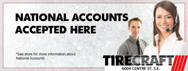 Tirecraft NATIONAL ACCOUNTS Accepted here