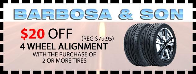 Get $20 off 4 wheel alignment