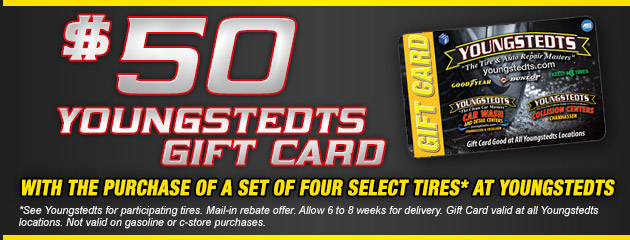 Youngstedts $50 Gift Card Rebate with 4 Tire Purchase