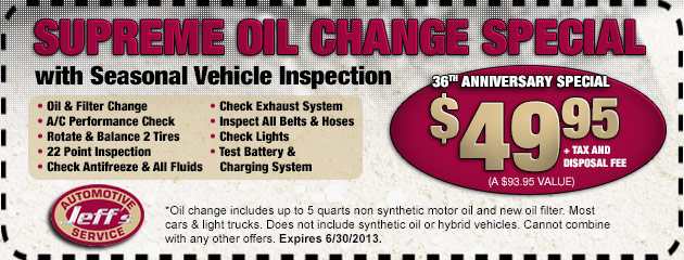 $49.95 Oil Change Special
