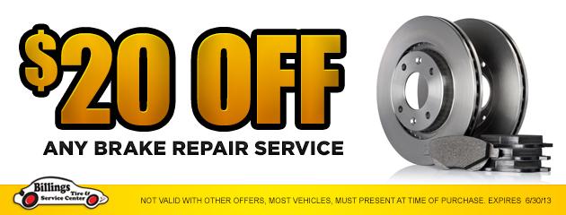 $20 Off any brake repair service
