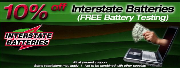 Interstate Batteries 10% off