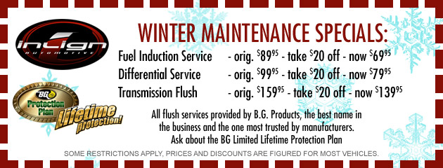 Winter Maintenance Specials Cont.