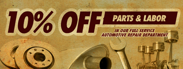 10 Percent off Parts and Labor
