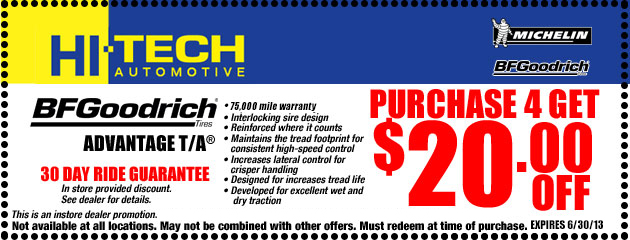 $20 off 4 BfGoodrich Tires