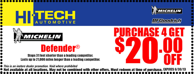 $20 off 4 Michelin Tires
