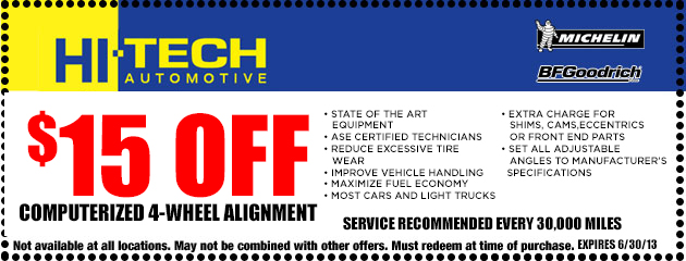 $15 Off Computerized 4-Wheel Alignment