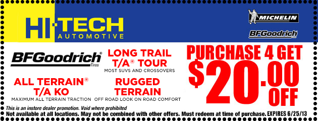 Purchase 4 BFGoodrich Tires and get $20 off