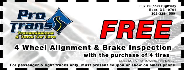 Free Alignment and Brake Inspection w/ 4 Tire Purchase