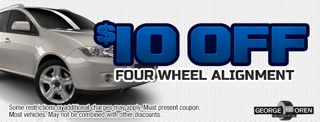 $10 Off Four Wheel Alignment