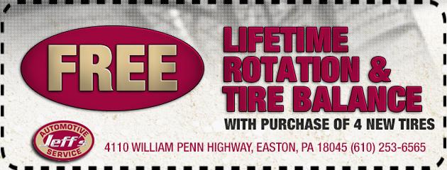Free Lifetime Rotation & Tire Balance