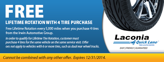 Free Lifetime Rotation with 4 Tire Purchase