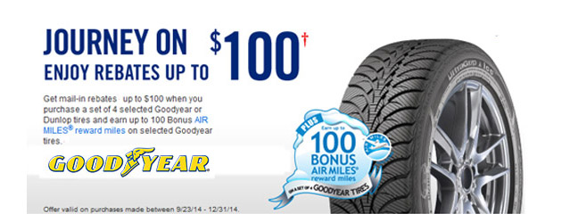 Goodyear up to $100 Rebate Canada