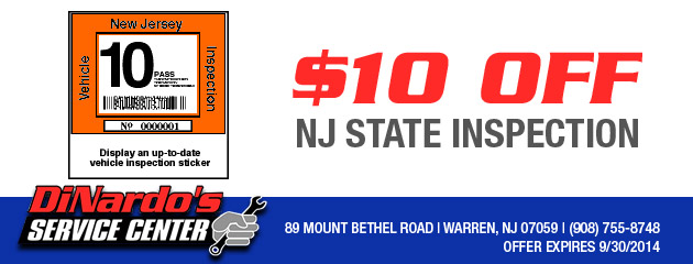 $10 off NJ State Inspection