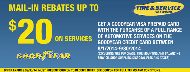 Goodyear TSN Up to $20 Rebate on Services