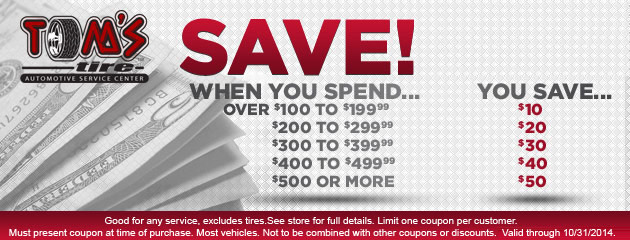 Special Savings at Toms Tire Automotive Service Center