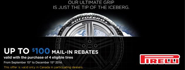 Pirelli up to $100 Rebate Canada