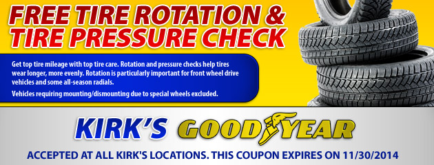 Free Tire Rotation and Pressure Check