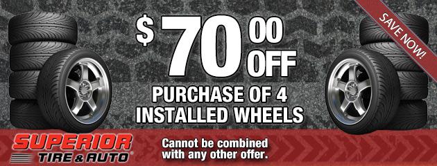 $70 Off 4 Installed Wheels