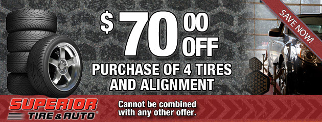 $70 Off 4 Tires and Alignment