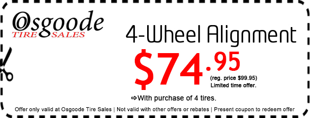 $74.95 4wheel Alignment with 4 new Tires