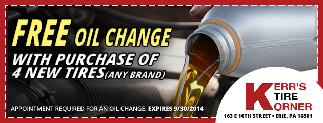 FREE Oil Change with Purchase of 4 New Tires