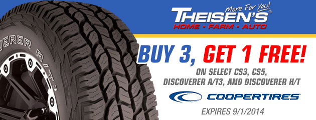 Buy 3 Get 1 Free On Select Cooper Tires