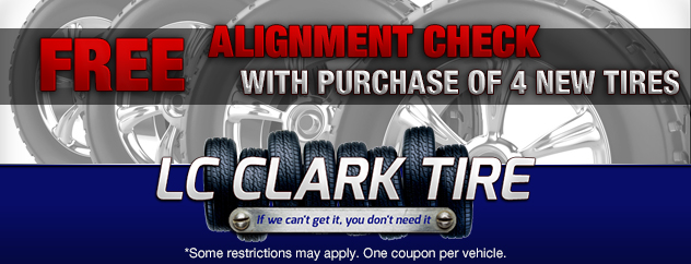 Free Alignment check with purchase of 4 new tires