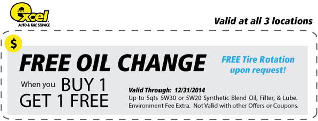 Buy 1 Oil Change Get 1 Free