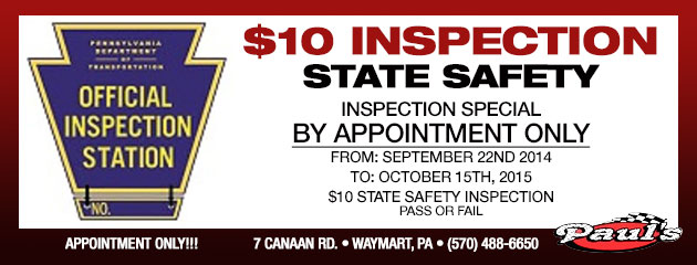 $10 State Safety Inspection