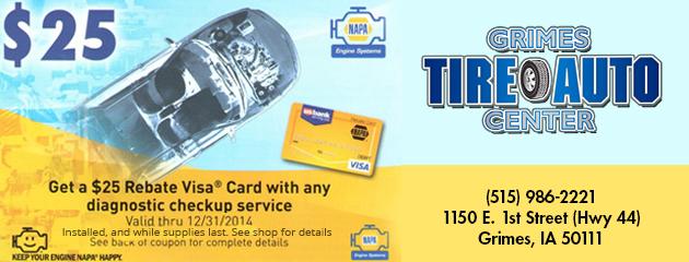 $25 Rebate Visa Card with any diagnostic checkup service