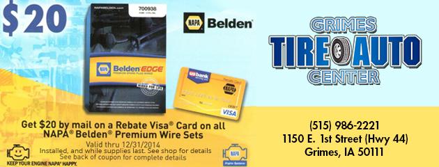 NAPA Belden Wire Set $20 Rebate