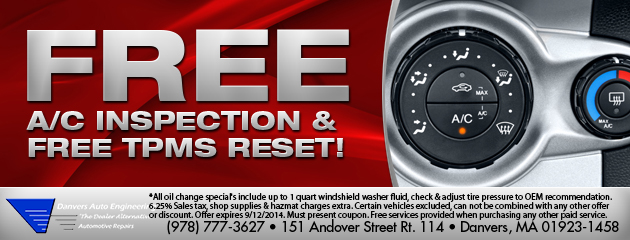 Free A/C Inspection & Free TPMS Reset