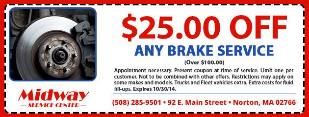 $25.00 OFF Any Brake Service