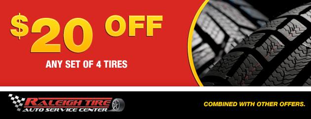 $20 off 4 set of Tires