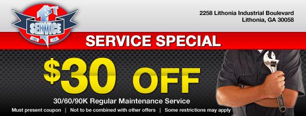 $30 OFF Maintenance Service