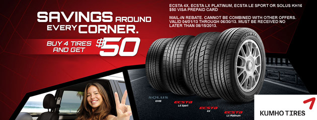 Kumho - Buy 4 Get $50