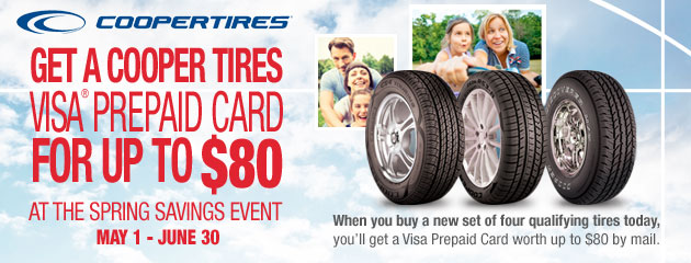 Cooper Tires - Up to $80 Back Visa Card